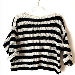 Ann Taylor cream and black chunky boatneck sweater